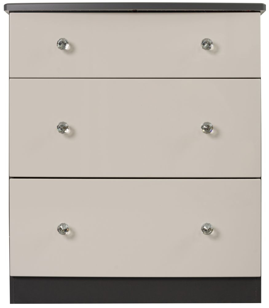 Sweet Dreams Oscar High Gloss Black and Grey 3 Drawer Chest