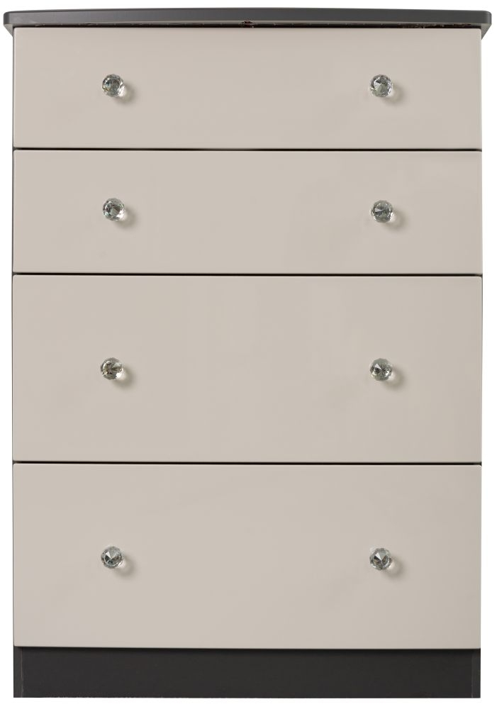 Sweet Dreams Oscar High Gloss Black and Grey 4 Drawer Chest