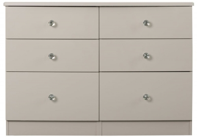 Sweet Dreams Oscar High Gloss Cashmere Grey 6 Drawer Chest
