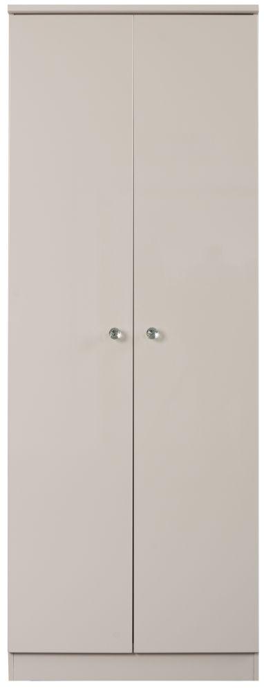 Sweet Dreams Oscar High Gloss Cashmere Grey 2 Door Wardrobe