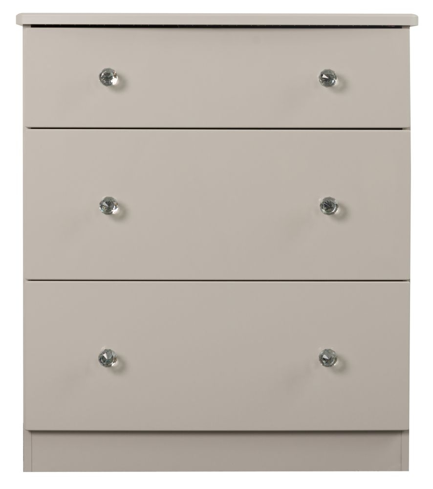 Sweet Dreams Oscar High Gloss Cashmere Grey 3 Drawer Chest