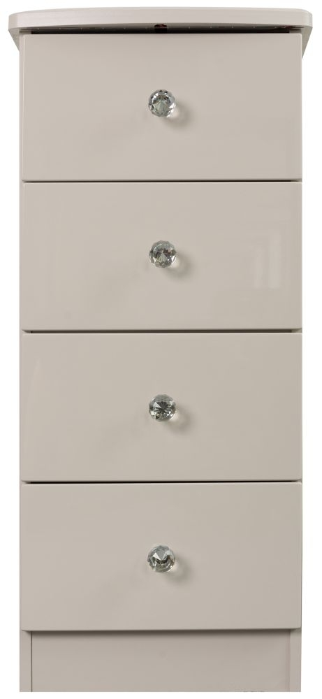 Sweet Dreams Oscar High Gloss Cashmere Grey 4 Drawer Bedside Cabinet