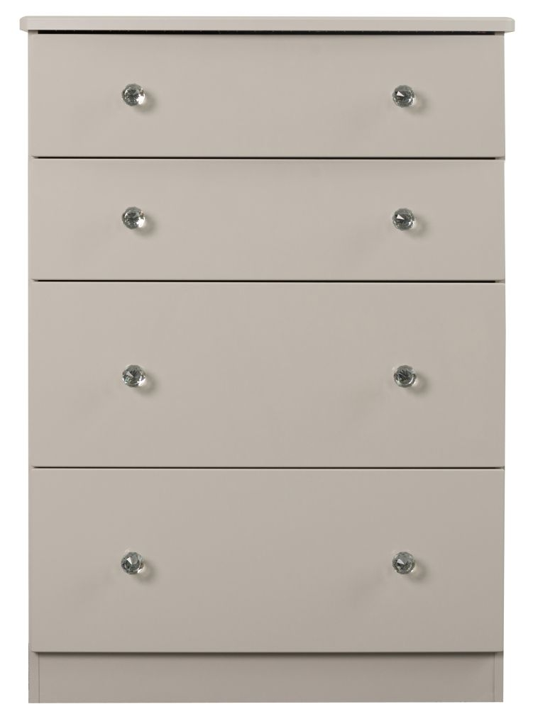 Sweet Dreams Oscar High Gloss Cashmere Grey 4 Drawer Chest