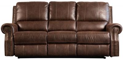 Sweet Dreams Wye 3 Seater Chestnut Fabric Recliner Sofa