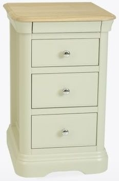 Clearance - TCH Cromwell Oyster White Painted Base and Oil Oak Top Bedside Chest with 1H23 Handle - New - E-636