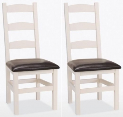 TCH Coelo Painted Amish Leather Seat Dining Chair (Pair)