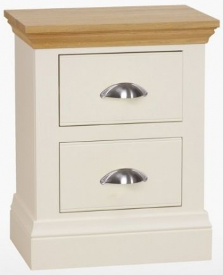 TCH Coelo 2 Drawer Large Bedside Cabinet - Oak and Painted