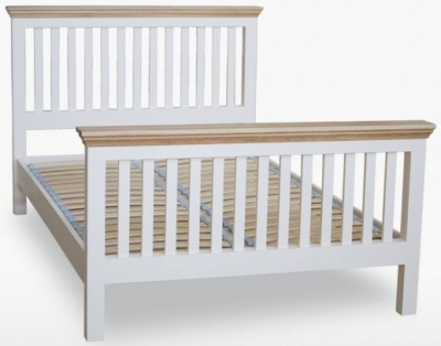 TCH Coelo High Foot End Slatted Bed - Oak and Painted