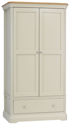 TCH Cromwell 2 Door 1 Drawer Wardrobe - Oak and Painted