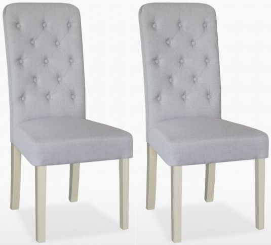 TCH Cromwell Buttonn Fabric Dining Chair (Pair)