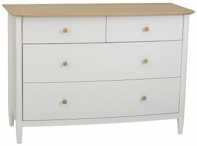 TCH Elise 2+2 Drawer Chest - Haze Oak and Ice White Painted