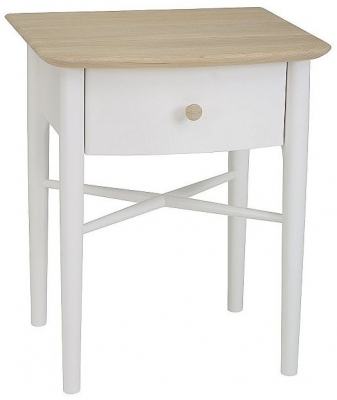 TCH Elise Bedside Table - Haze Oak and Ice White Painted