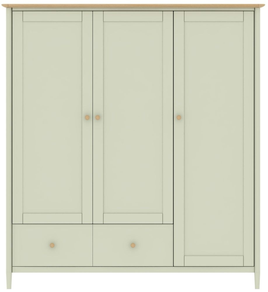 TCH Elise 3 Door 2 Drawer Wardrobe - Oak and Painted