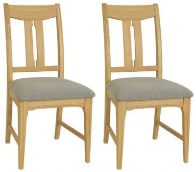 TCH New England Oak Vermont Fabric Seat Dining Chair (Pair)