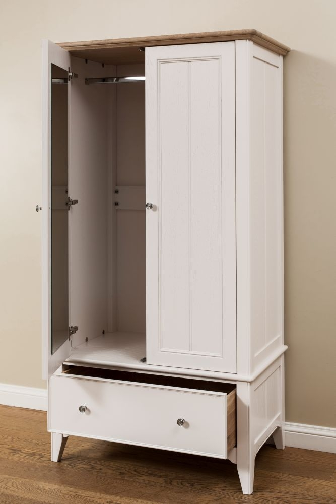 TCH New England Oak 2 Door 1 Drawer Wardrobe