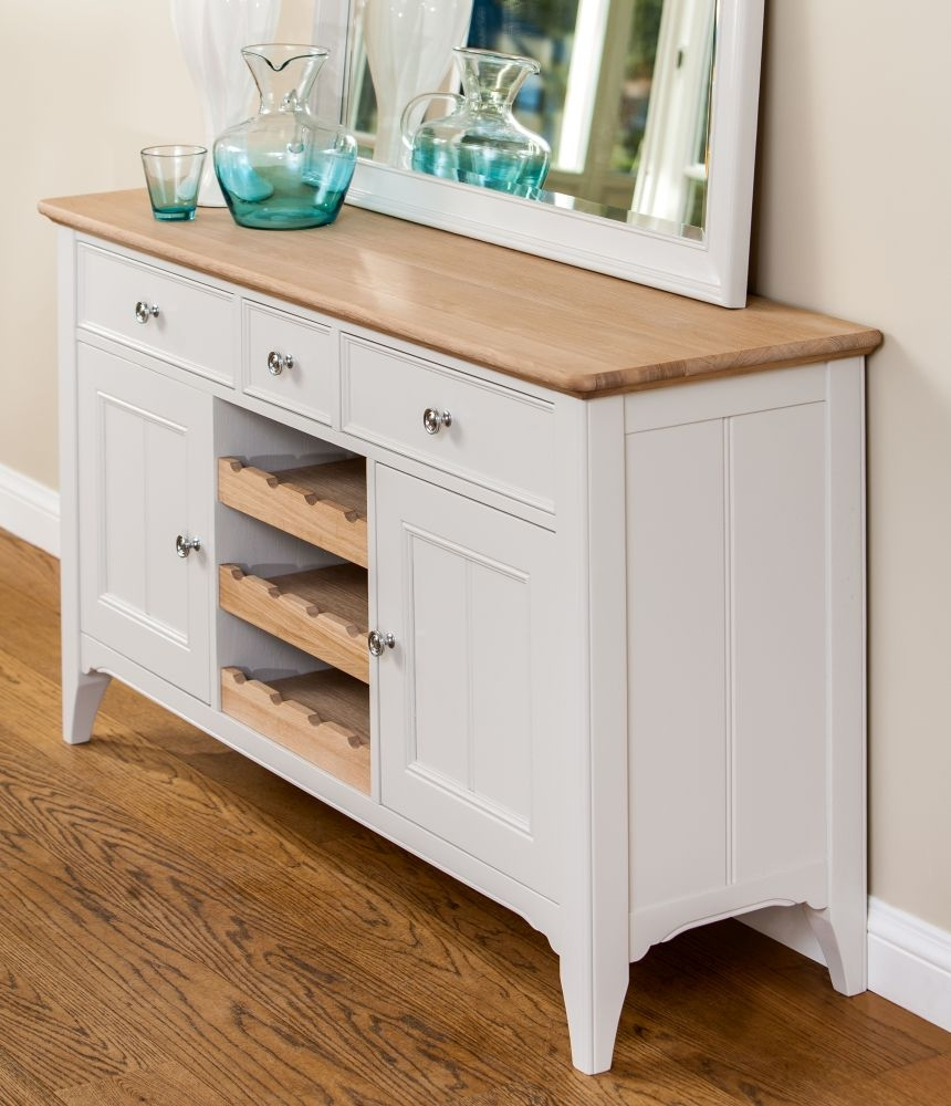 TCH New England Oak Large Sideboard with Wine Rack