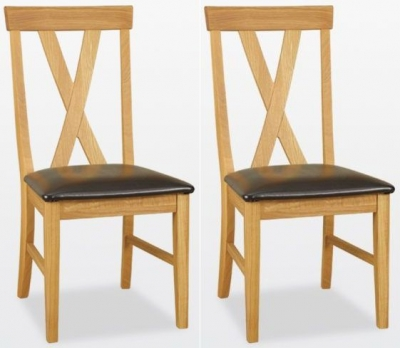 TCH Windsor Oak Big Cross Leather Seat Dining Chair (Pair)