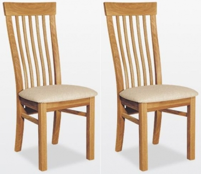 TCH Windsor Oak Swell Fabric Seat Dining Chair (Pair)