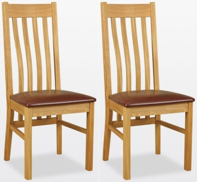 TCH Windsor Oak Wigan Leather Seat Dining Chair (Pair)