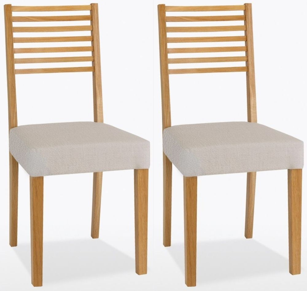 TCH Windsor Oak Ladder Back Leather Seat Dining Chair (Pair)