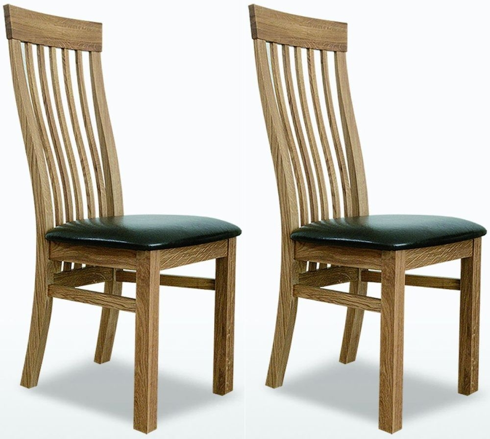TCH Windsor Oak Swell Leather Seat Dining Chair (Pair)