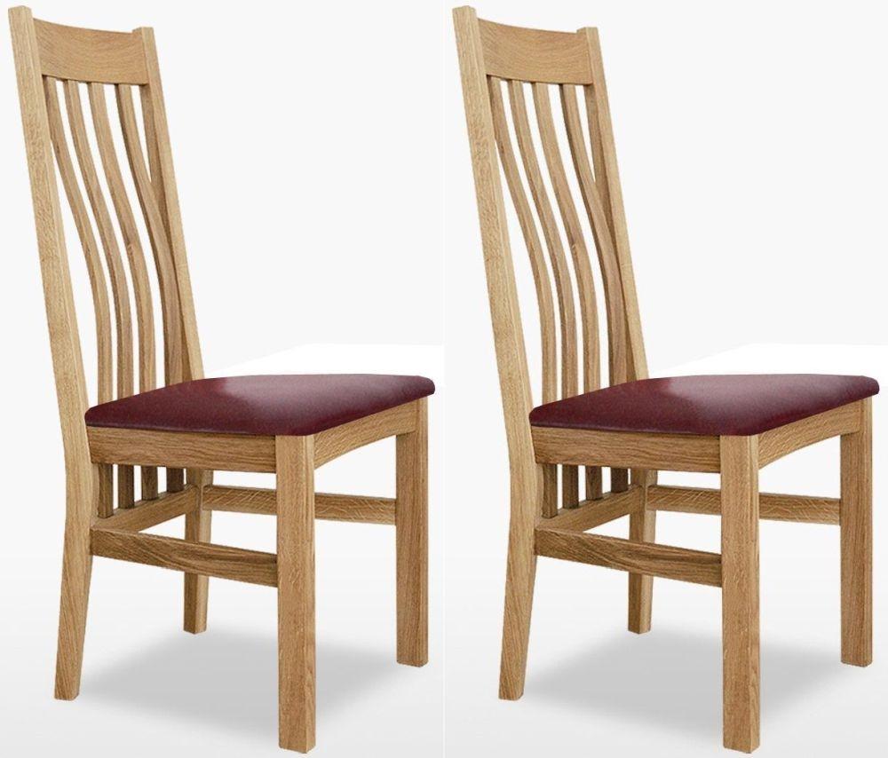 TCH Windsor Oak Wigan Fabric Seat Dining Chair (Pair)