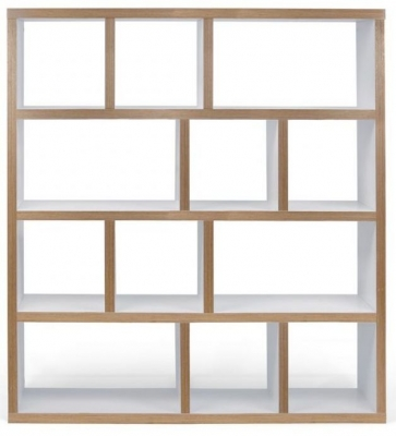 Temahome Berlin White Plywood Edge Wide 4 level Bookcase