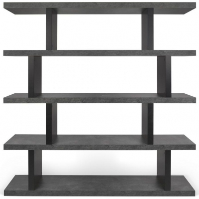 Temahome Step Concrete Melamine and Black High Bookcase