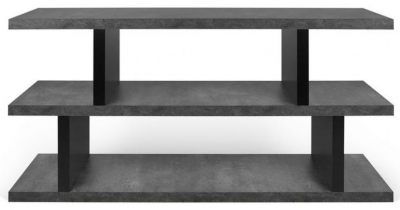 Temahome Step Concrete Melamine and Black Low Bookcase