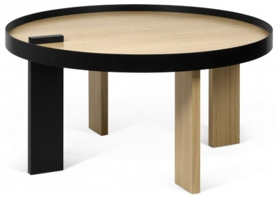 Temahome Bruno Oak and Black Round Coffee Table