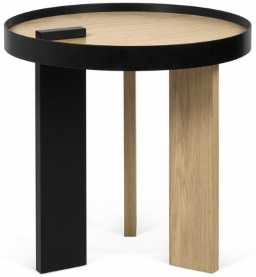 Temahome Bruno Oak and Black Round Side Table