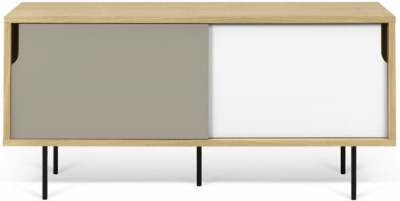 Temahome Dann 135 Oak TV Unit with White and Grey Doors and Metal Legs