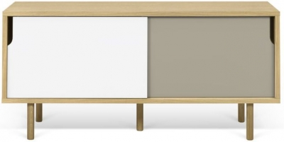 Temahome Dann 135 Oak TV Unit with White and Grey Doors
