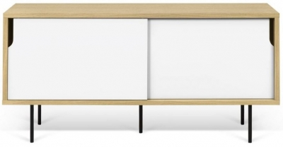 Temahome Dann 135 Oak and White TV Unit with Metal Legs