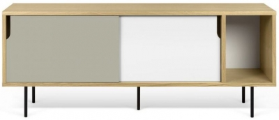 Temahome Dann 165 Oak TV Unit with White and Grey Doors and Metal Legs