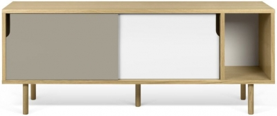 Temahome Dann 165 Oak TV Unit with White and Grey Doors