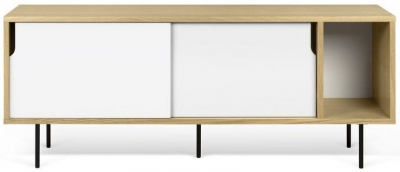 Temahome Dann 165 Oak and White TV Unit with Metal Legs
