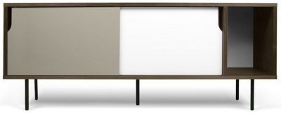 Temahome Dann 165 Walnut TV Unit with White and Grey Doors and Metal Legs