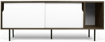 Temahome Dann 165 Walnut and White TV Unit with Metal Legs