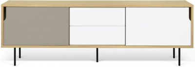Temahome Dann 201 Oak TV Unit with White and Grey Doors and Metal Legs