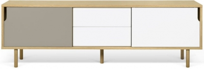 Temahome Dann 201 Oak TV Unit with White and Grey Doors