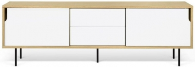 Temahome Dann 201 Oak and White TV Unit with Metal Legs