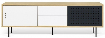 Temahome Dann Dots 201 Oak TV Unit with White and Anthracite Doors