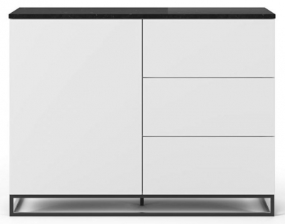 Temahome Join 120H2 White Sideboard with Black Marble Top and Metal Base