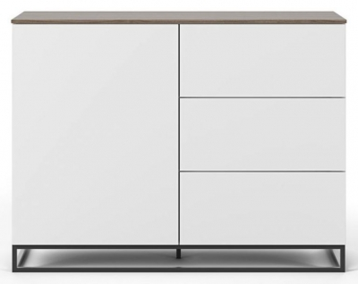 Temahome Join 120H2 White and Walnut Sideboard with Metal Base