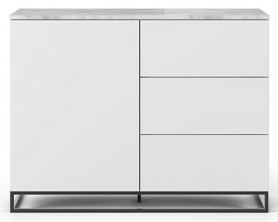 Temahome Join 120H2 White Sideboard with White Marble Top and Metal Base