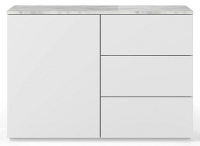 Temahome Join 120H2 White Sideboard with White Marble Top