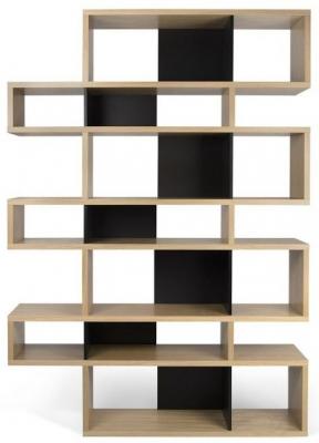 Temahome London Oak and Black Triple Bookcase