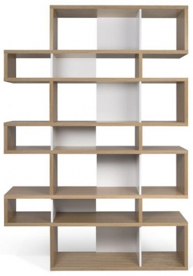 Temahome London Oak and White Triple Bookcase