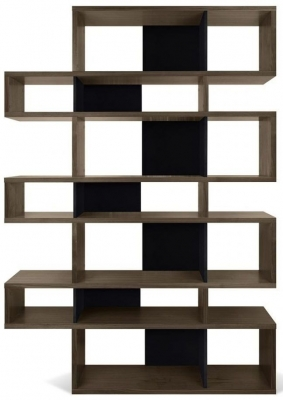 Temahome London Walnut and Black Triple Bookcase